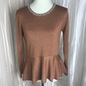 Bronze Shiny Peplum Top